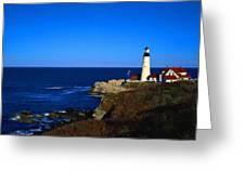 Portland Head Light Panoramic View Greeting Card