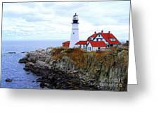 Portland Head Light House In Maine Greeting Card