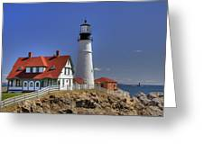 Portland Head Light Greeting Card by Joann Vitali