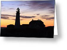 Portland Head Light Silhouette  Greeting Card