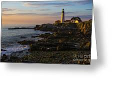 Portland Head Lighthouse At Dawn Greeting Card