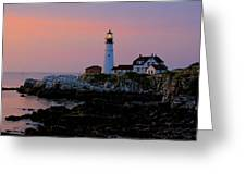 Portland Head Lighthouse At Daybreak Greeting Card