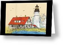 Portland Head Lighthouse Me Nautical Chart Map Art Greeting Card