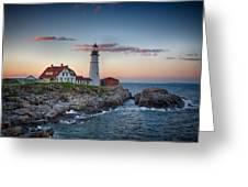 Portland Headlight Sunset Greeting Card
