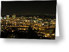 Portland Night Skyline Along Willamette River Panorama Greeting Card