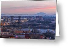 Portland Oregon And Mt St Helens During Sunrise Greeting Card