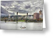 Portland Oregon Downtown Along Willamette River Greeting Card