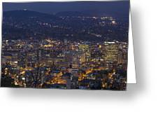 Portland Oregon Downtown Cityscape At Blue Hour Greeting Card