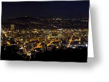 Portland Oregon Downtown Cityscape At Night Greeting Card