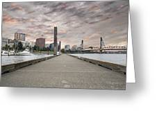 Portland Oregon Downtown Skyline By The Marina At Sunset Greeting Card