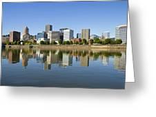 Portland Oregon Downtown Skyline Reflection 3 Greeting Card
