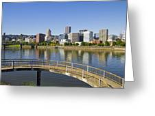 Portland Oregon Downtown Skyline Reflection 4 Greeting Card