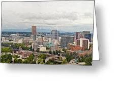 Portland Oregon Downtown View Panorama Greeting Card