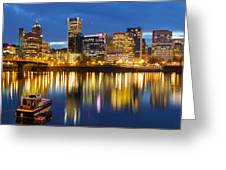 Portland Oregon Downtown Waterfront At Blue Hour Greeting Card