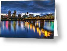 Portland Oregon Waterfront At Blue Hour Greeting Card