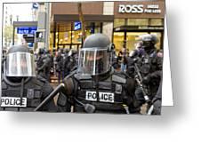 Portland Police In Riot Gear Closeup Greeting Card
