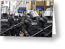 Portland Police In Riot Gear Greeting Card