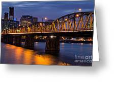 Portland Skyline And Hawthorne Bridge Greeting Card