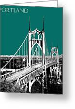 Portland Skyline St. Johns Bridge - Sea Green Greeting Card