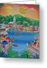 Portofino, Italy, 2012 Acrylic On Canvas Greeting Card