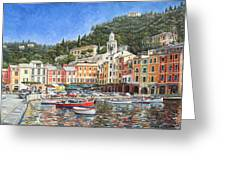 Portofino Italy Greeting Card by Mike Rabe