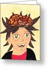 Portrait Of A Boy With A Ball Python On His Head Greeting Card