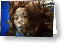 Portrait Of A Girl Under Water Greeting Card