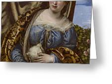 Portrait Of A Lady As Saint Agnes Greeting Card