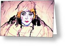 Portrait Of A Lady En Face After Gustav Klimt Greeting Card