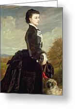 Portrait Of A Lady In Black With A Dog Greeting Card