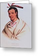 Portrait Of A-mis-quam, A Winnebago Brave Coloured Engraving Greeting Card