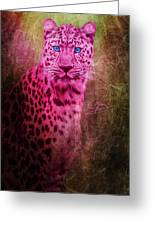 Portrait Of A Pink Leopard Greeting Card