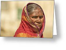 Portrait Of A Woman In Hampi Greeting Card