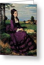 Portrait Of A Woman In Lilac Greeting Card