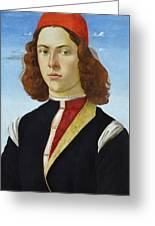 Portrait Of A Young Man Ghirlandaio Greeting Card