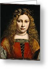 Portrait Of A Youth Crowned With Flowers Greeting Card by Giovanni Antonio Boltraffio