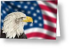 Portrait Of American Bald Eagle Against Usa Flag Stars And Strip Greeting Card
