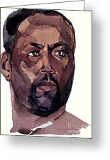 Watercolor Portrait Of An Athlete Greeting Card