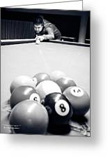 Portrait Of An Awesome Pool Player Greeting Card