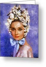 Portrait Of Audrey Hepburn Greeting Card