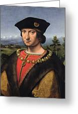 Portrait Of Charles Damboise 1471-1511 Marshal Of France Oil On Panel Greeting Card