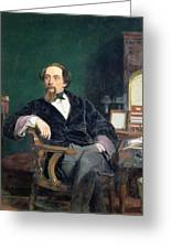 Portrait Of Charles Dickens Greeting Card