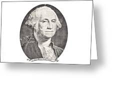 Portrait Of George Washington On White Background Greeting Card