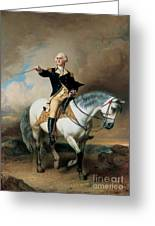 Portrait Of George Washington Taking The Salute At Trenton Greeting Card
