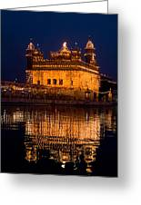 Portrait Of Golden Temple At Night Greeting Card