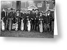 Portrait Of Golf Caddies Greeting Card
