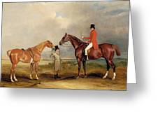 Portrait Of John Drummond On A Hunter With A Groom Holding His Second Horse Greeting Card