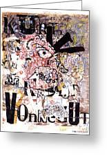 Portrait Of Kurt Vonnegut Greeting Card by Karl Frey