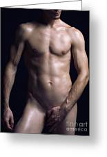 Portrait Of Man With Fit Naked Body Greeting Card