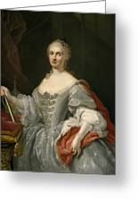 Portrait Of Maria Amalia Of Saxony As Queen Of Naples Overlooking The Neapolitan Crown Greeting Card